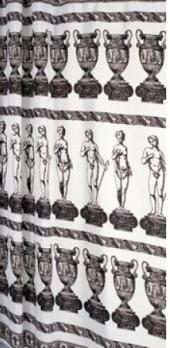 Шторка DEPO (белая с серыми фигурками) 180*180 см.