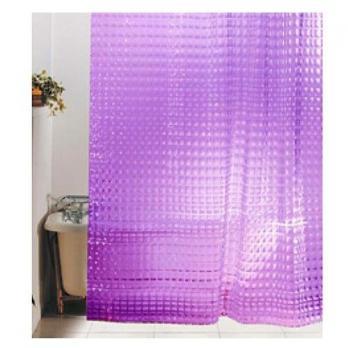 Штора для ванной 3D с кольцами (фиолетовые квадраты) 180*180 см.