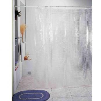 Штора для ванной 3D с кольцами (бесцветные квадраты) 180*180 см.