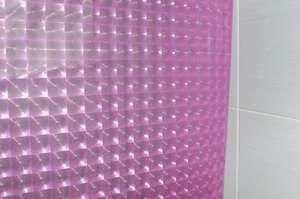 Штора для ванной 3D с кольцами (розовые квадраты) 180*180 см.