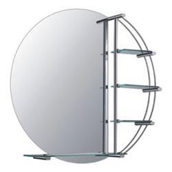 F603 Зеркало круглое с метал. полкой