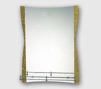 F611 Зеркало золотистое с полкой