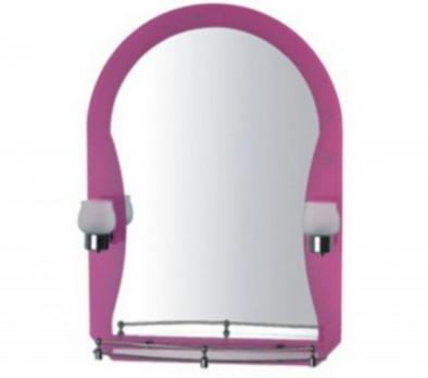 F652-04 Зеркало розовое с полкой