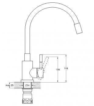 Cм-ль для кухни монолитный EZA4-F090GN