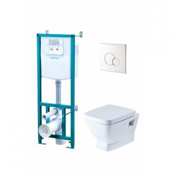 Комплект: Нео Пэк 1WH501543 подвесной унитаз + инсталляция + сиденье + панель хром